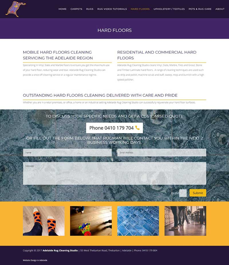 Rug Cleaning Studio Website Design