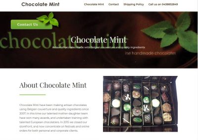 Single page website for Chocolate Mint in Sydney