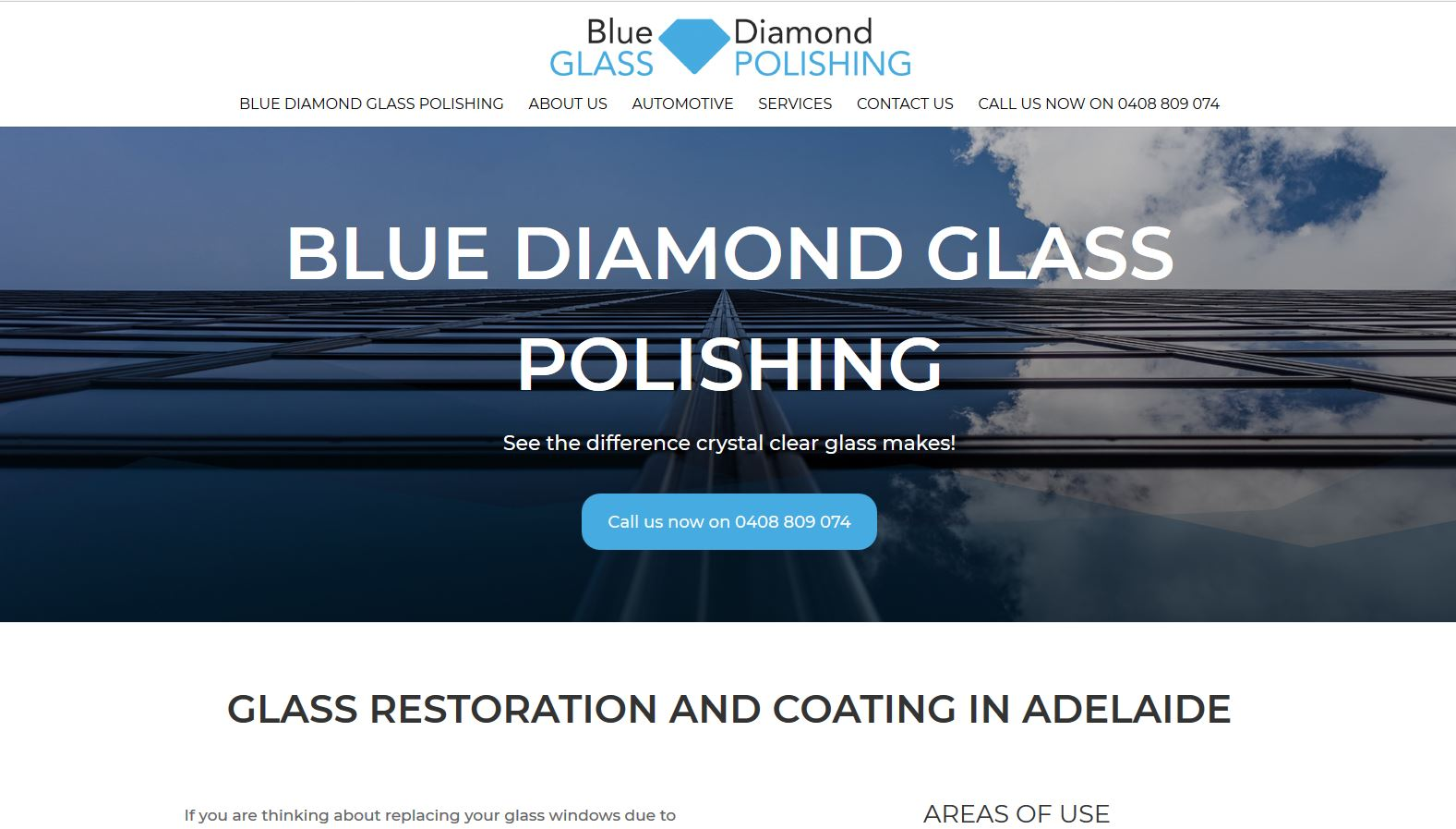 website design for blue diamond glass polishing
