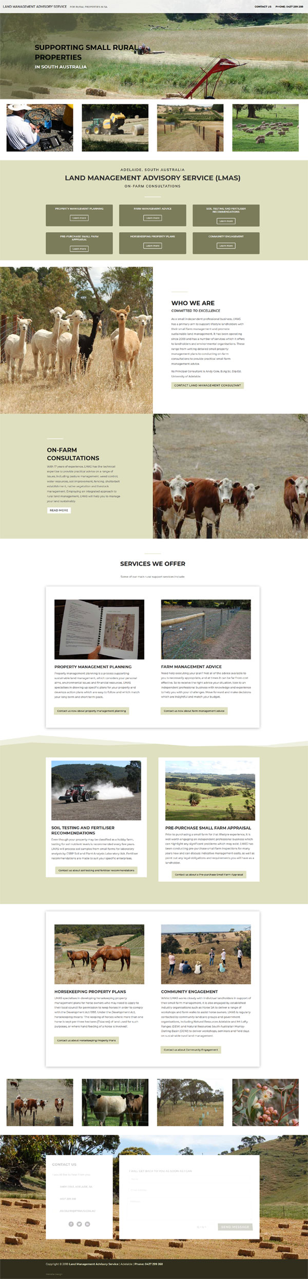 Website for Land Management Advisory Service | Website Adelaide