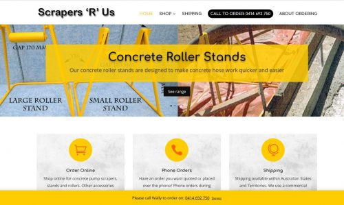 scrapersrus Concrete pump scrapers, stands and rollers