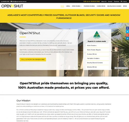 website design in Adelaide for blinds business