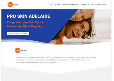 Pro skin in Adelaide – website design