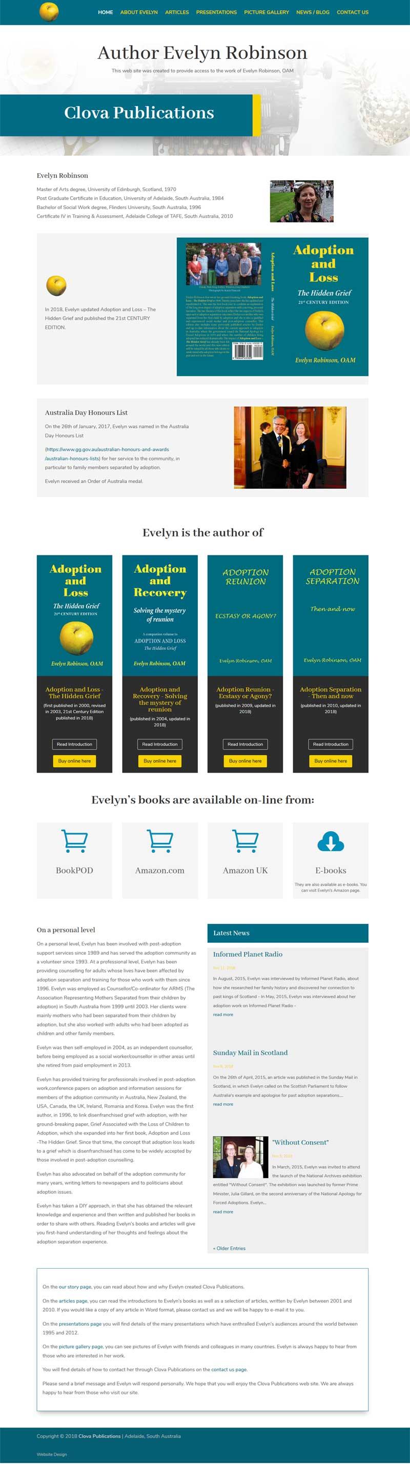 author website design book publication
