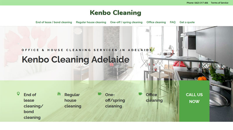 website design for kenbo cleaning services adelaide