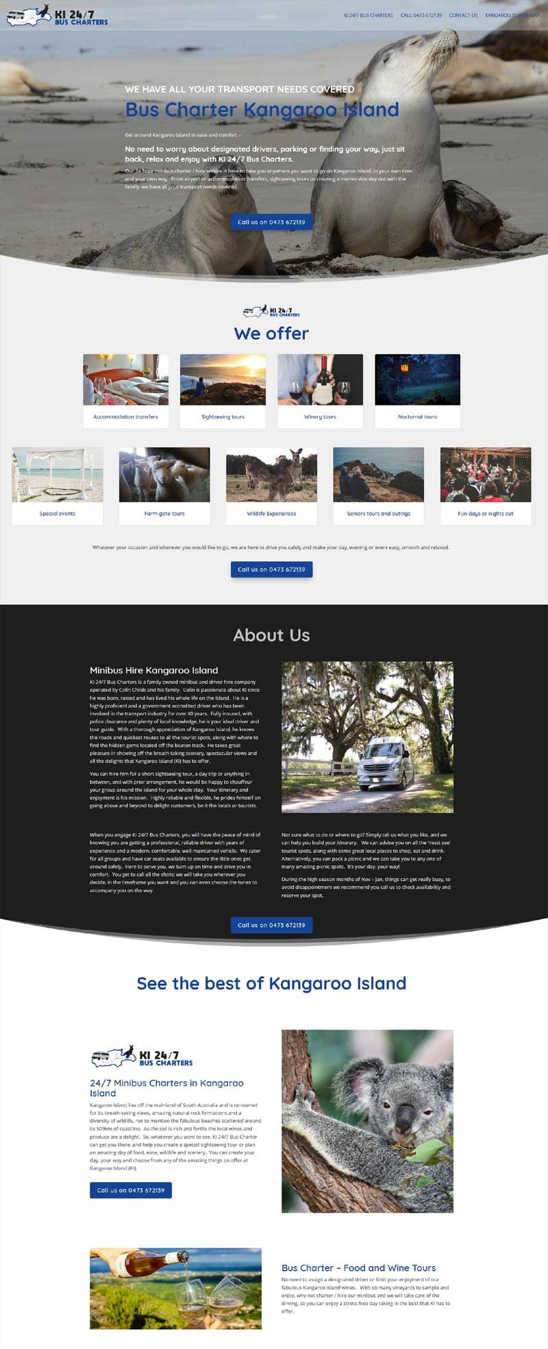 website design for kangaroo island bus charters