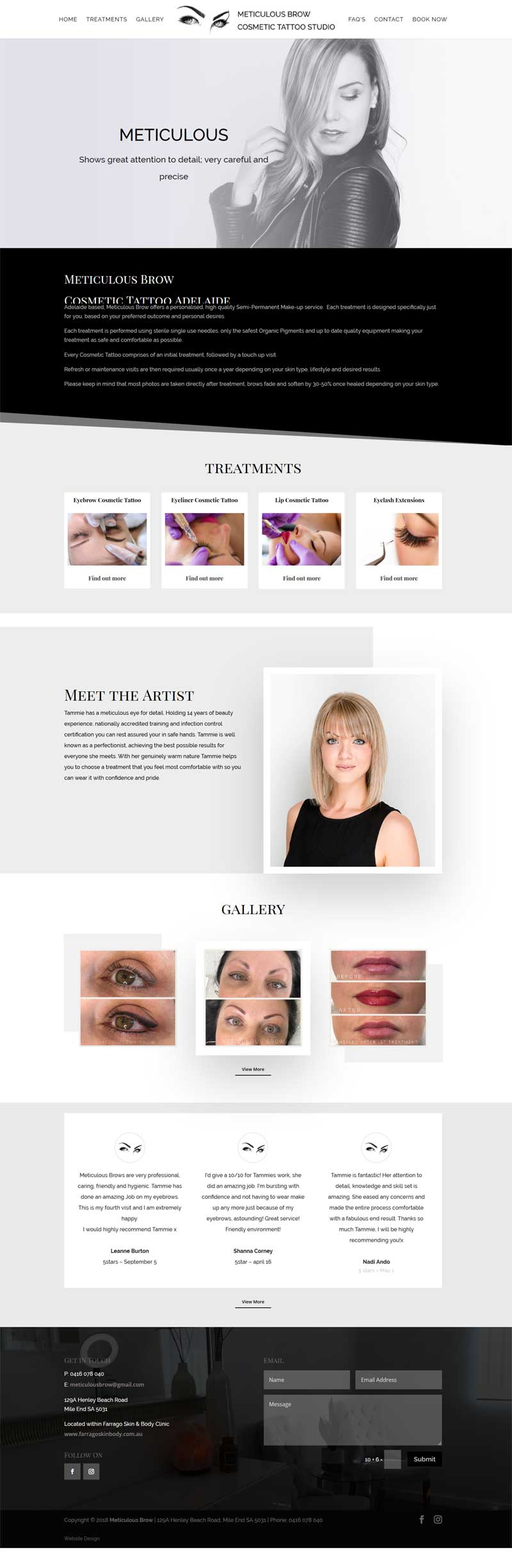 meticulous brow website design adelaide