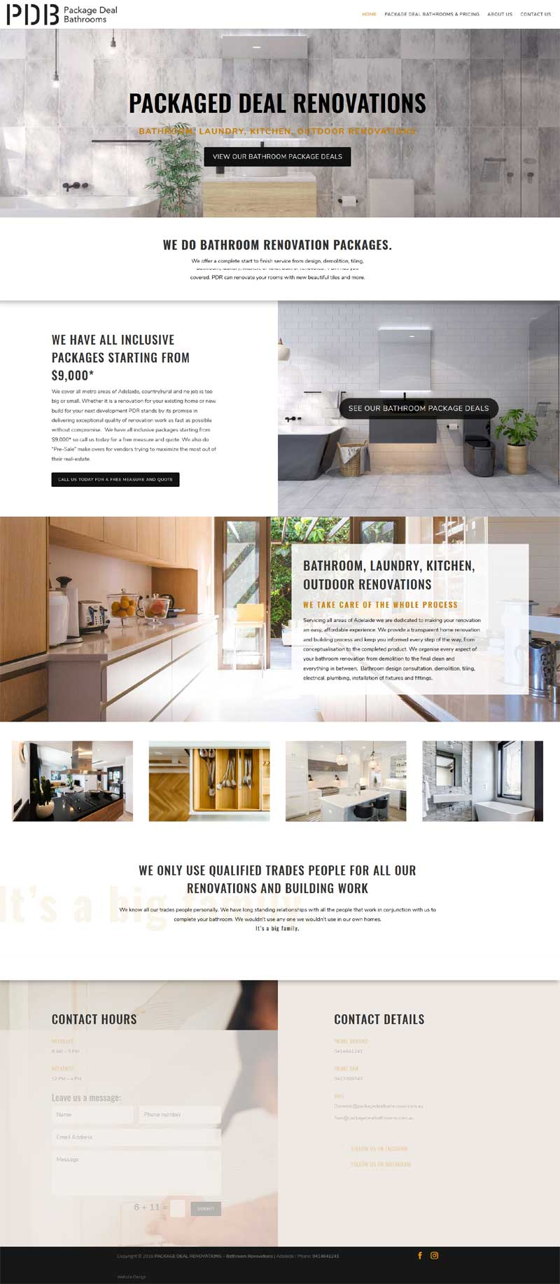 Website design for package deal bathrooms | Website Adelaide
