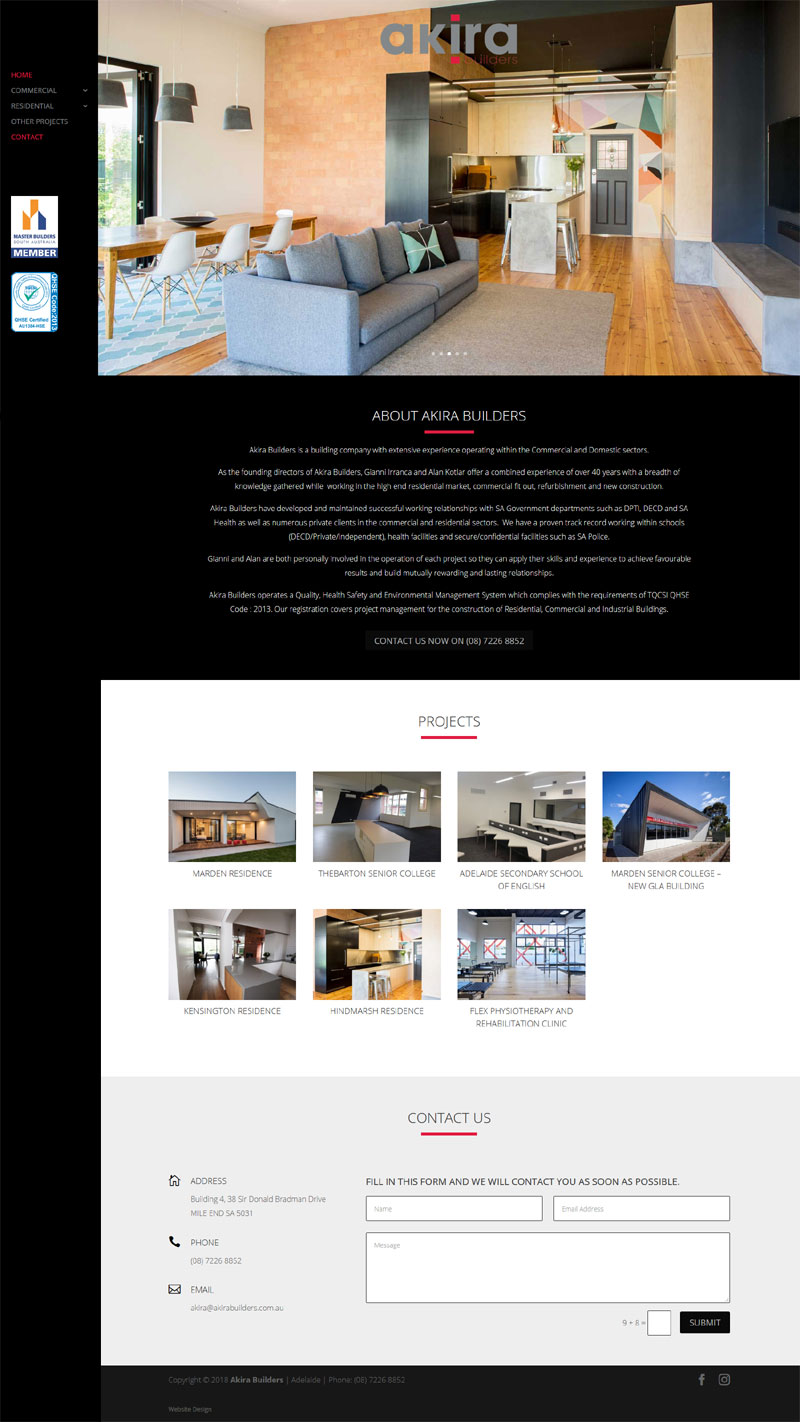 website design adelaide small business website akira builders