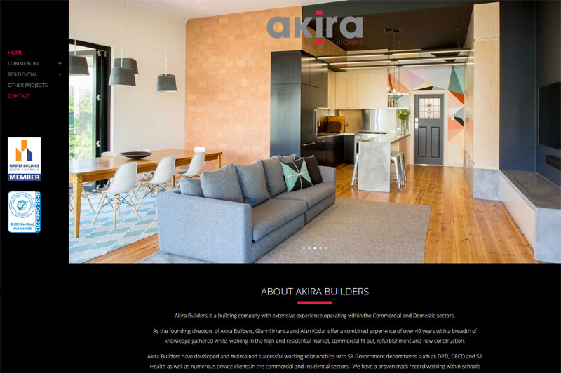 Website design for Akira Builders