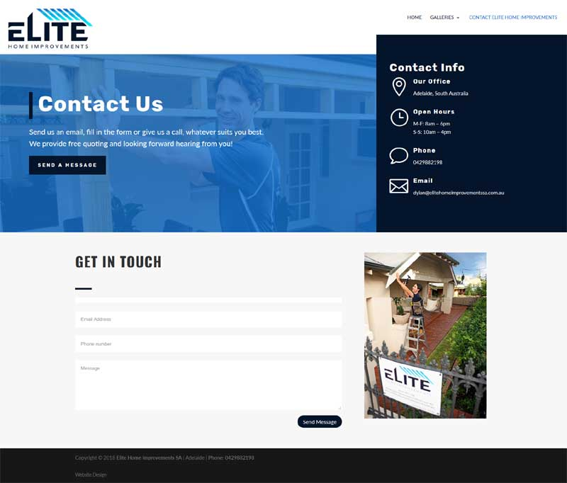business website wordpress elite home improvements builder adelaide