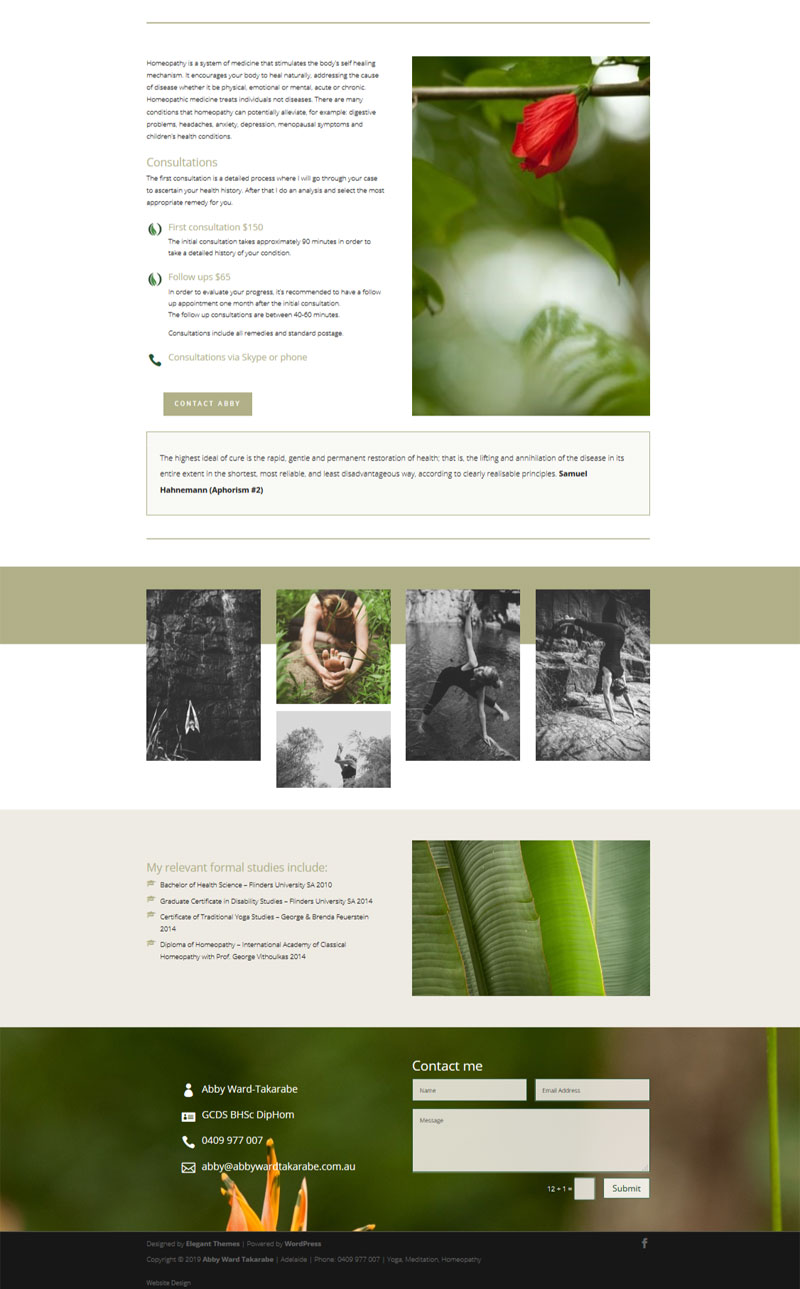 website design for adelaide yoga and homeopathy