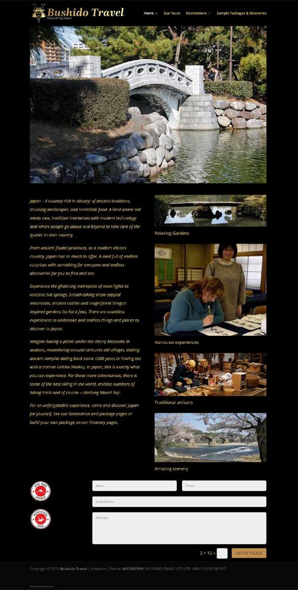 website build for Bushido Travel experience Japan