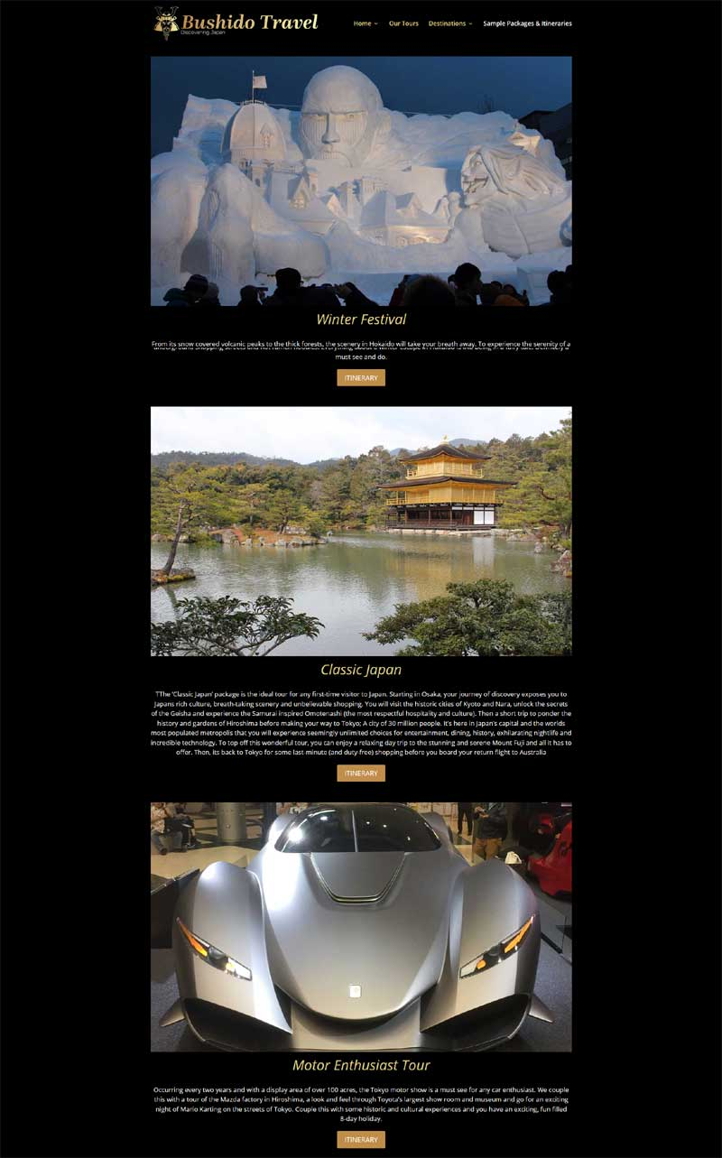 website build for Bushido Travel experience Japan
