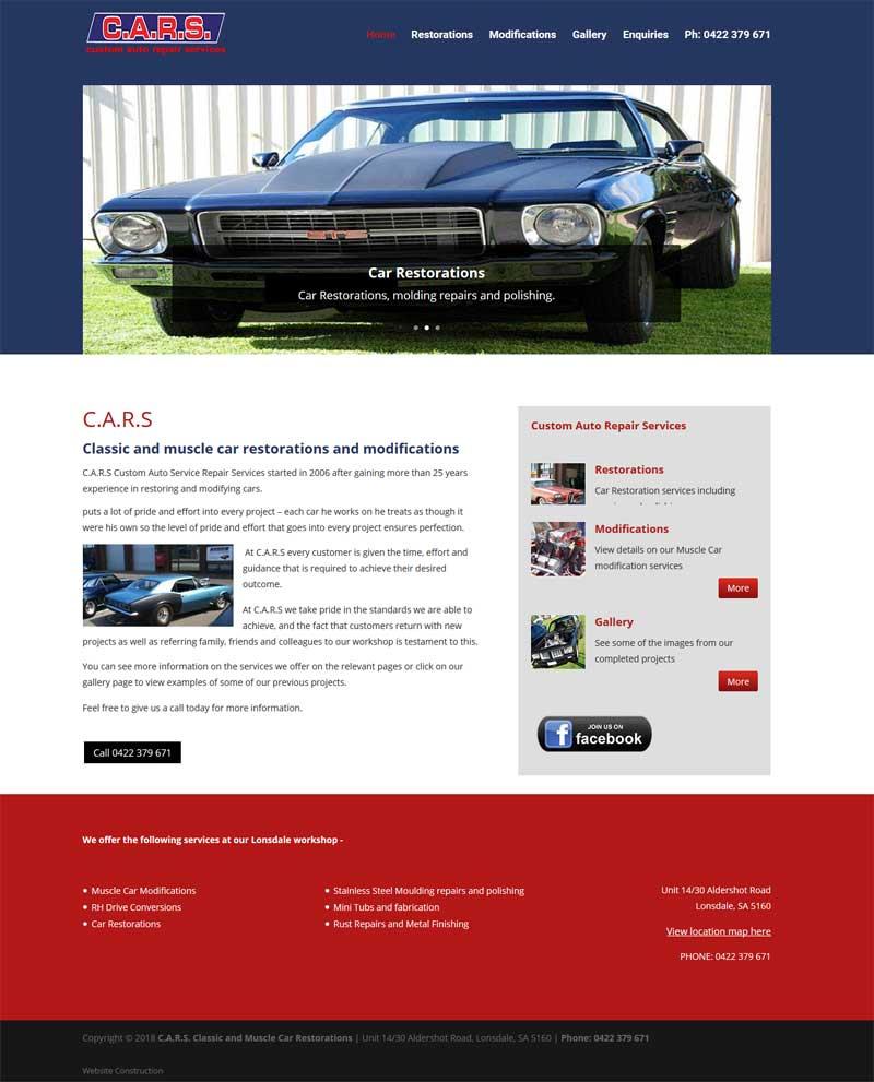 website design for cars lonsdale adelaide