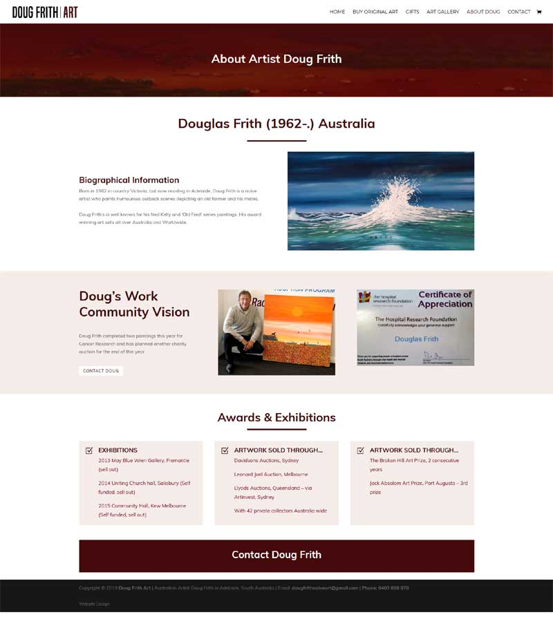 website design for australian artist ecommerce shop