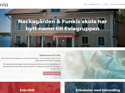 Website for Evia in Sweden