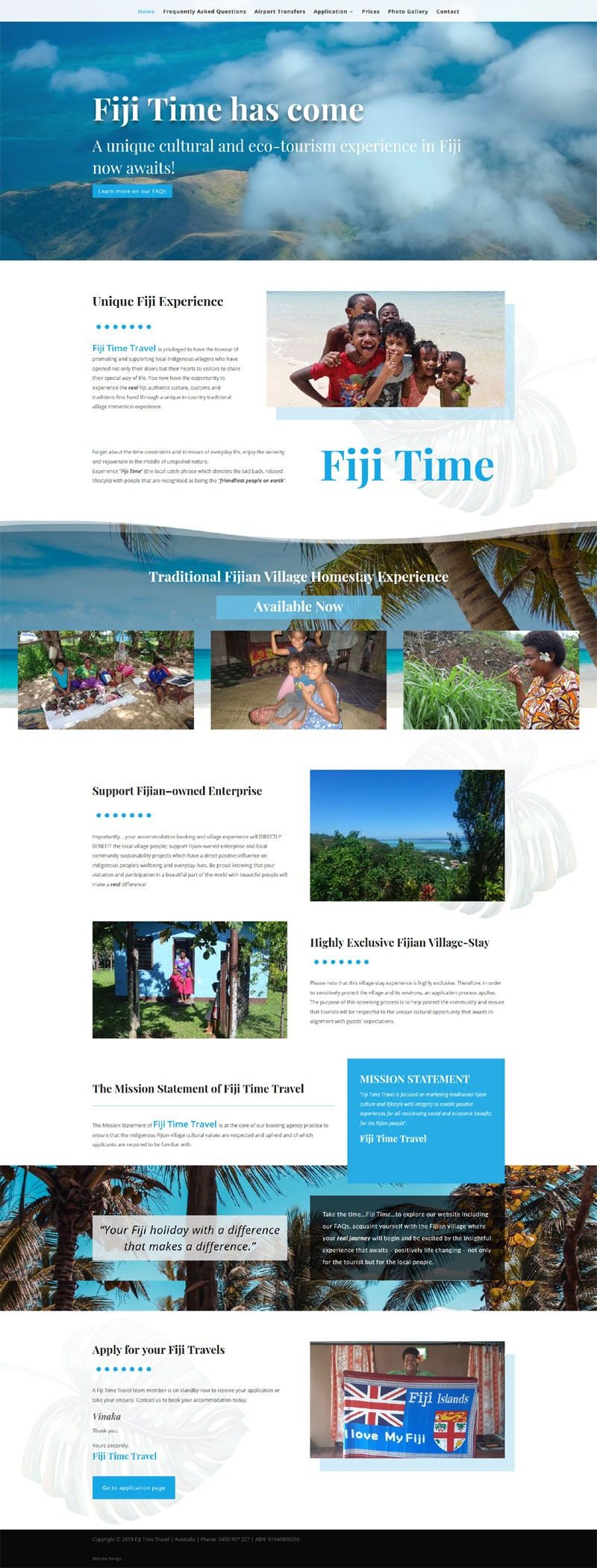 website design for fiji time travel agency cultural eco-tourism