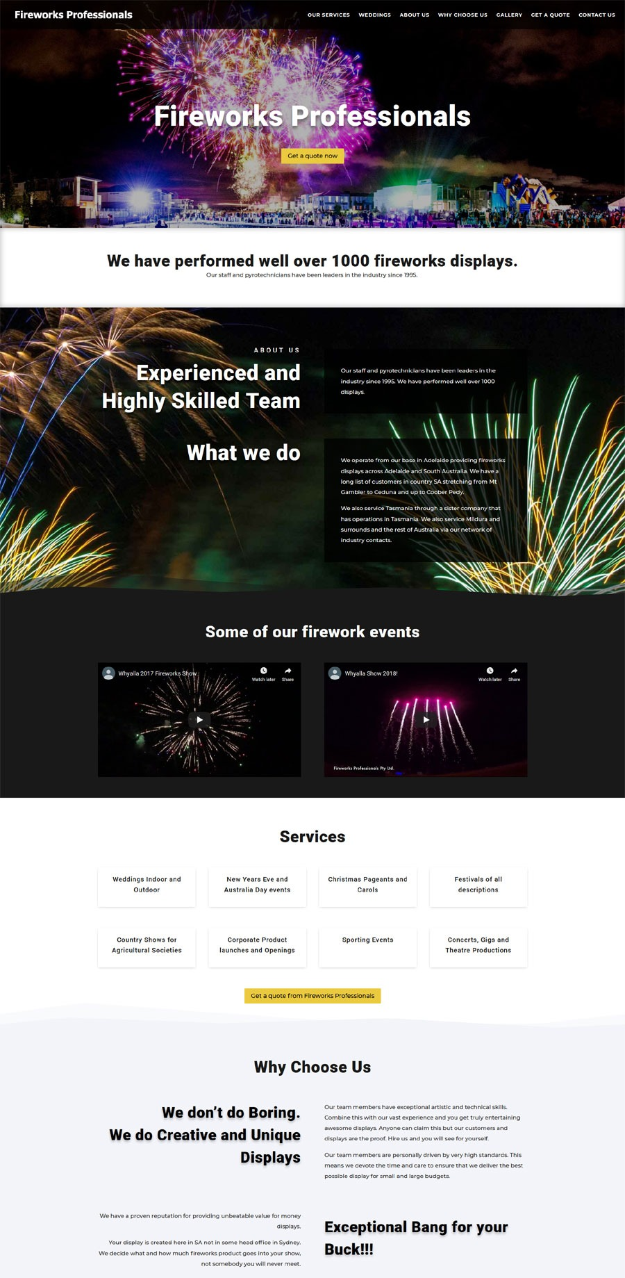 website design for fireworks professionals in south australia