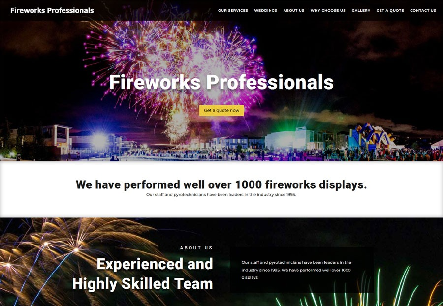 website design for fireworksprofessionals