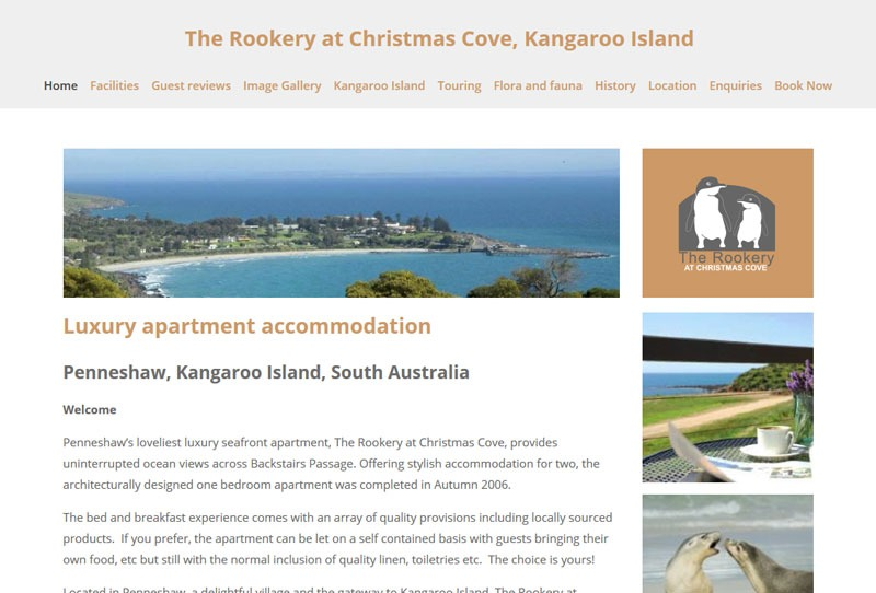 Website for holiday rental on Kangaroo Island