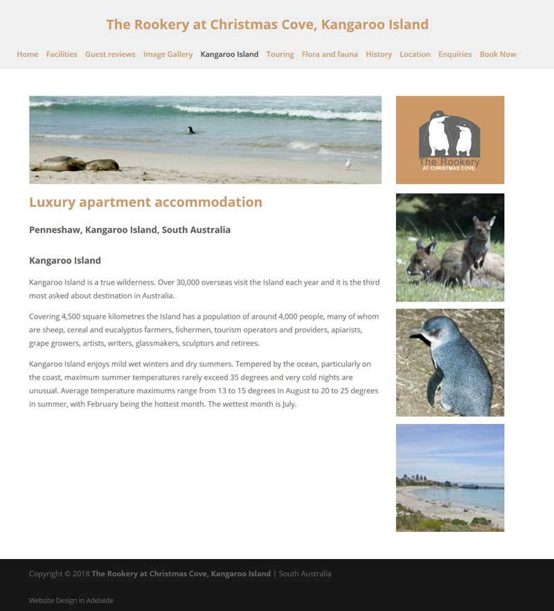 holiday rental kangaroo island website booking