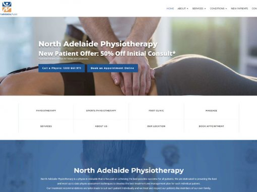 Website for physiotherapy services in north Adelaide