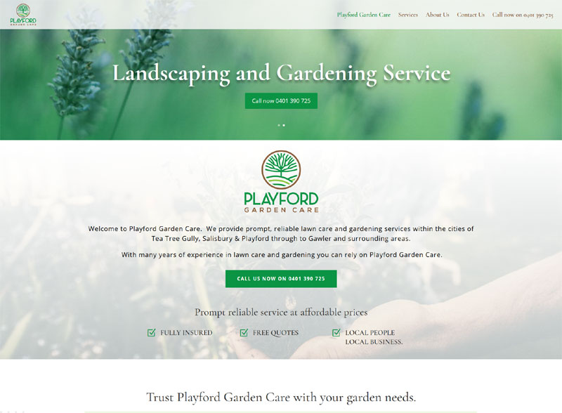playford garden care website design adelaide
