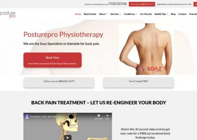 Website for PosturePro – physiotherapy services