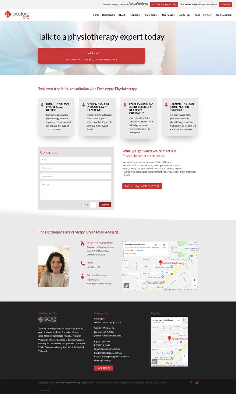 website design for physiotherapy services in adelaide