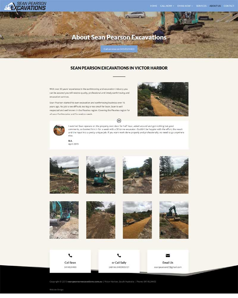 website design for sean pearson excavation victor harbor