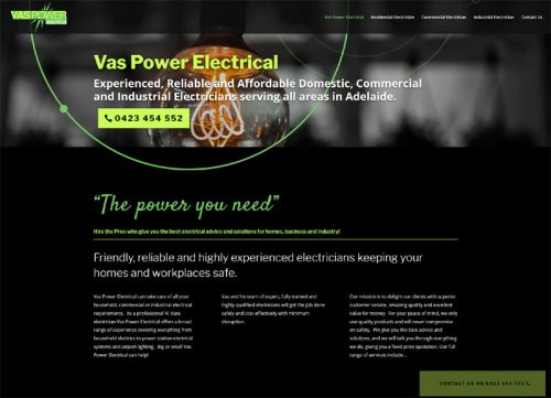 website design vas power electrical services adelaide