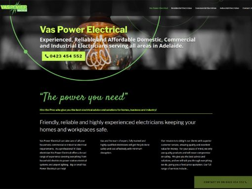 Website design for Vas Power Electrical
