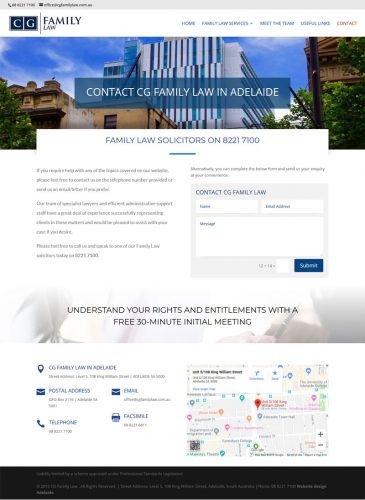 website design for cgfamily law adelaide