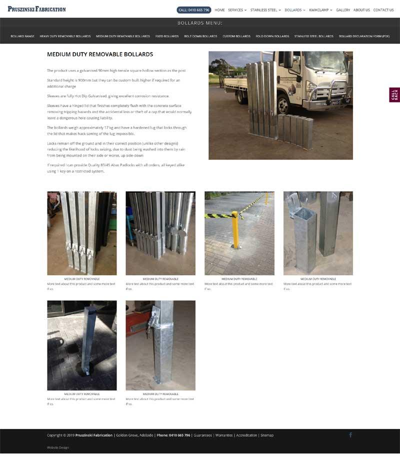 website design for pruszinski fabrication in Adelaide