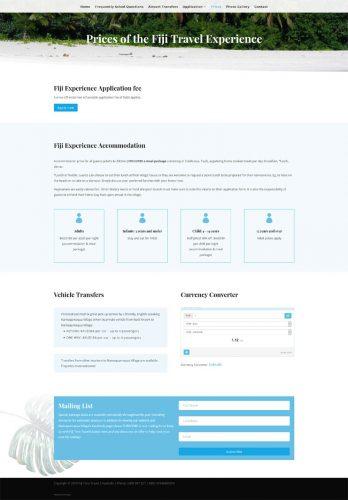 website design for fiji time travel agency cultural eco-tourism