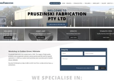 Website design for Pruszinski Fabrication