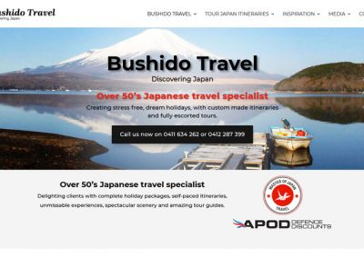 Redesign of website for Bushido Travel