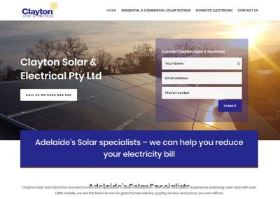 Website design for Clayton Solar & Electrical