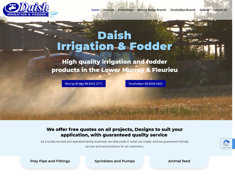 Website design for Daish irrigation & fodder in South Australia
