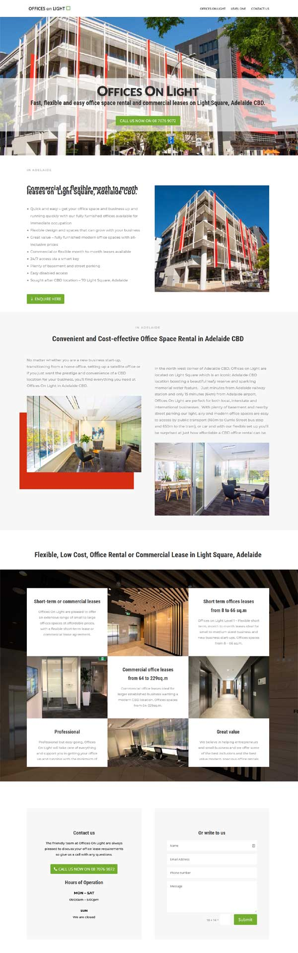 website design for offices on light in adelaide