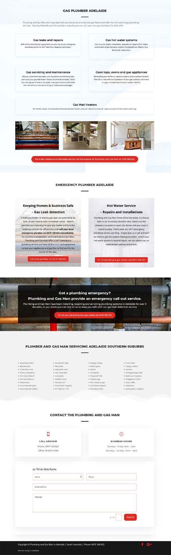 plumber gas website adelaide
