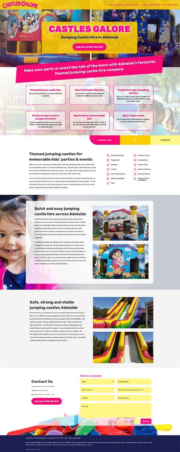 website design jumping castle hire adelaide