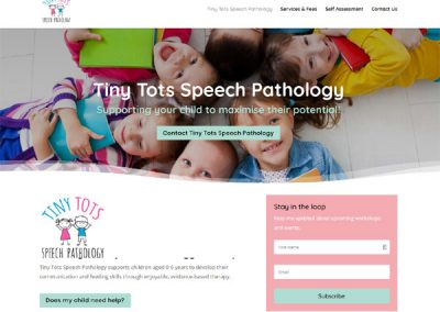 Website for Tiny Tots Speech Pathology