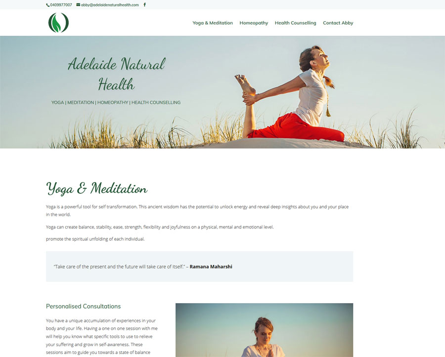 Redesign for Adelaide Natural Health