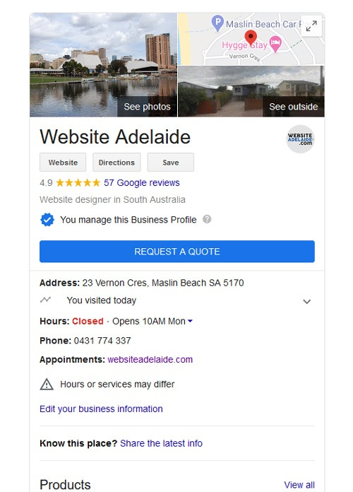 google my business page for website adelaide