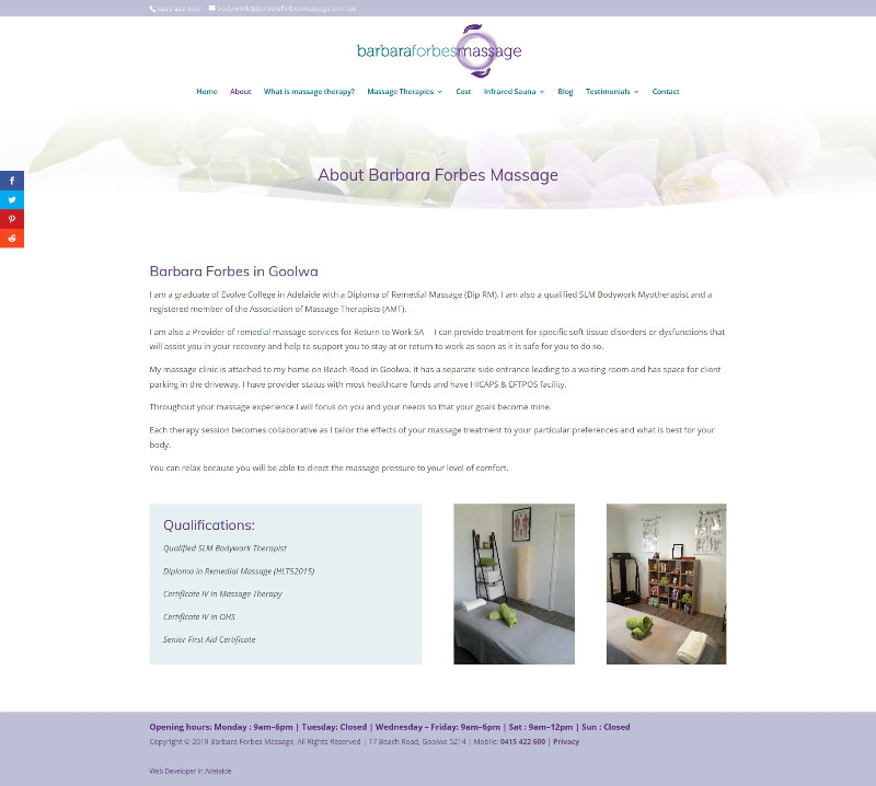 Barbara Forbes Massage Therapy website design