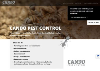 Website design for pest control business in Adelaide