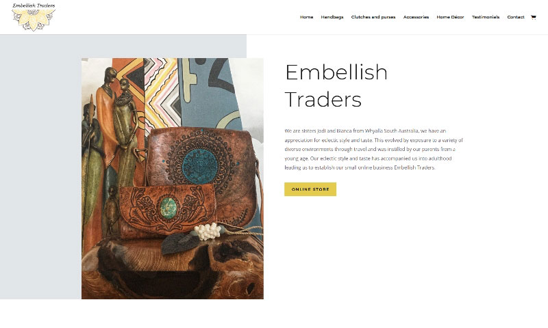 Ecommerce website online shop for Embellish Traders