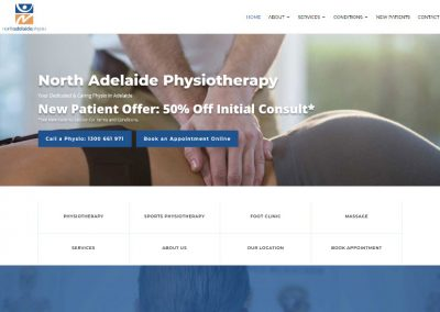 Website design for North Adelaide Physiotherapy